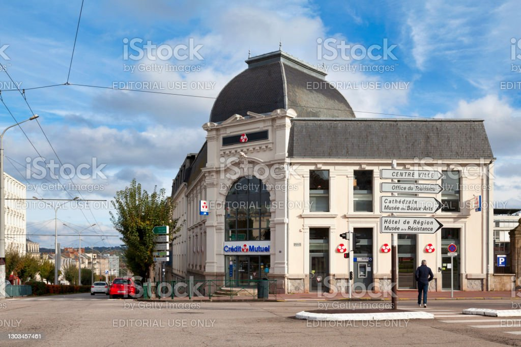 Credit Mutuel in Limoges Limoges, France - November 09 2019: The Crédit Mutuel agency located on Place Jourdan is the regional branch dedicated to businesses. Architecture Stock Photo