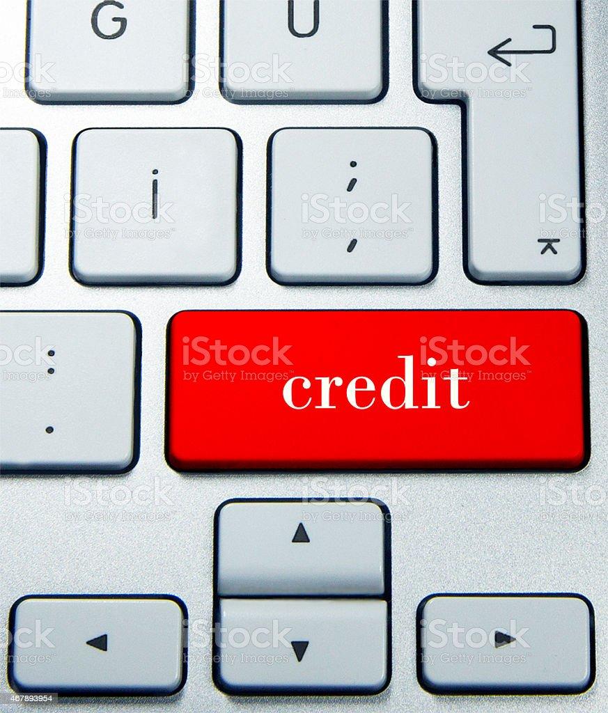 credit on keyboard stock photo