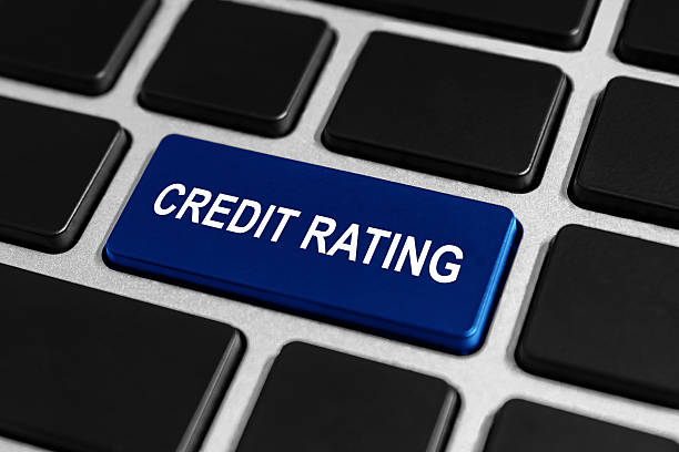 credit rating button on keyboard stock photo