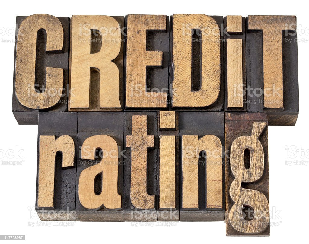 credit rating in wood type royalty-free stock photo