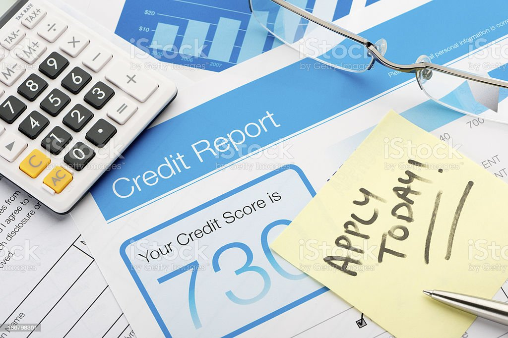 Credit report form with apply today note stock photo