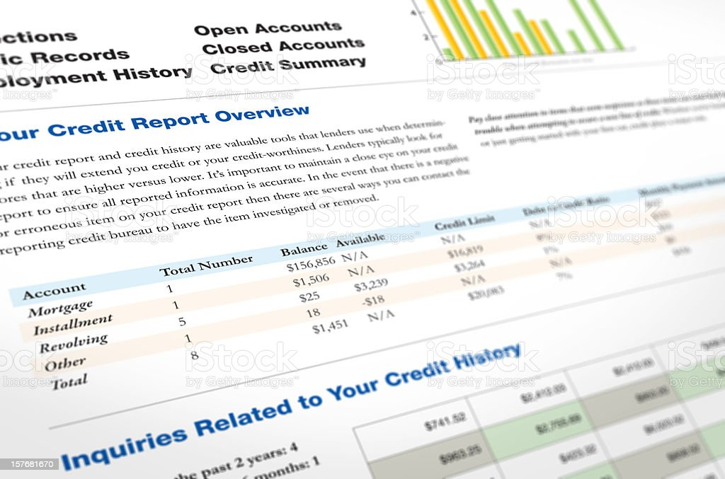 Credit Report  Analyzing Stock Photo