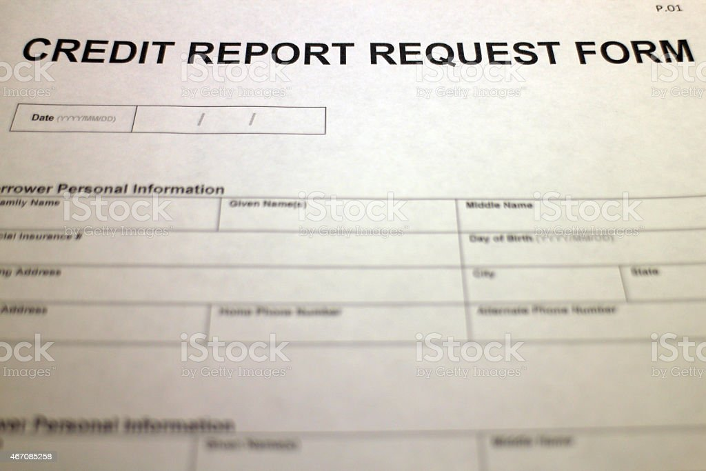 Credit Report Request Form Header Stock Photo  More Pictures Of