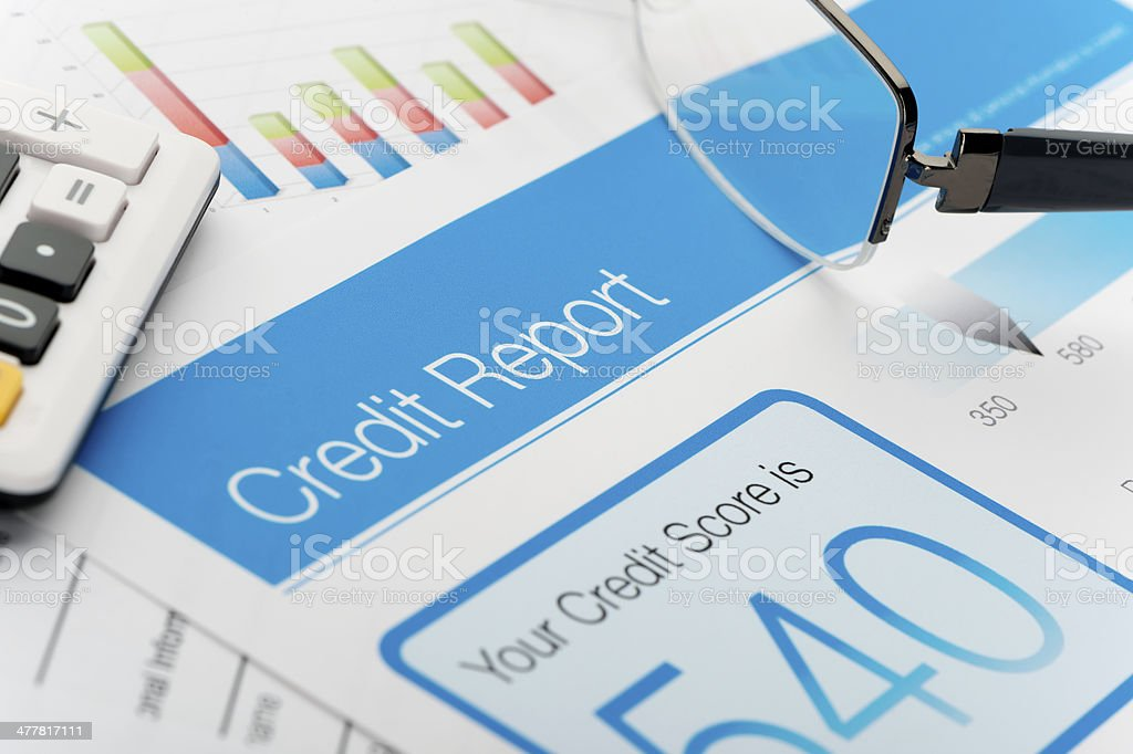 Credit report with score royalty-free stock photo