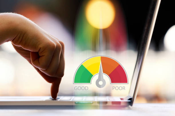 credit score concept on laptop - scoring stock photos and pictures
