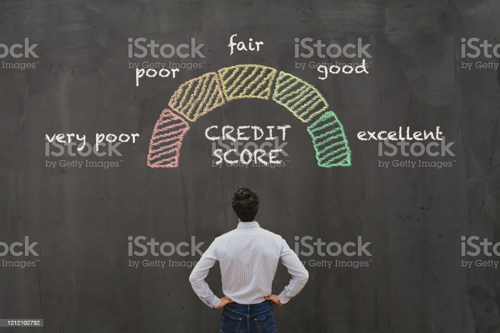 credit score concept credit score concept, poor or excellent, loan in bank Adult Stock Photo