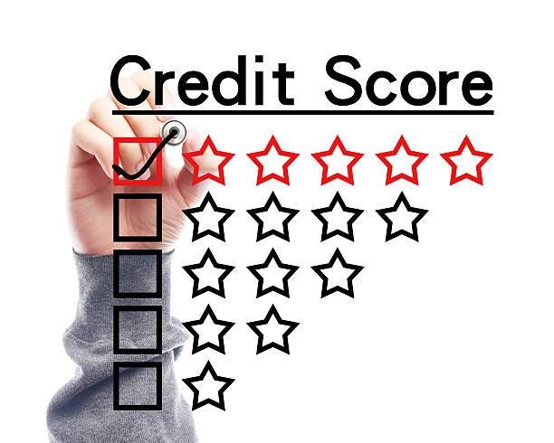 credit score-konzept - bankhaken stock-fotos und bilder