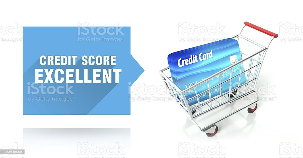 Credit score excellent, with shopping cart stock photo