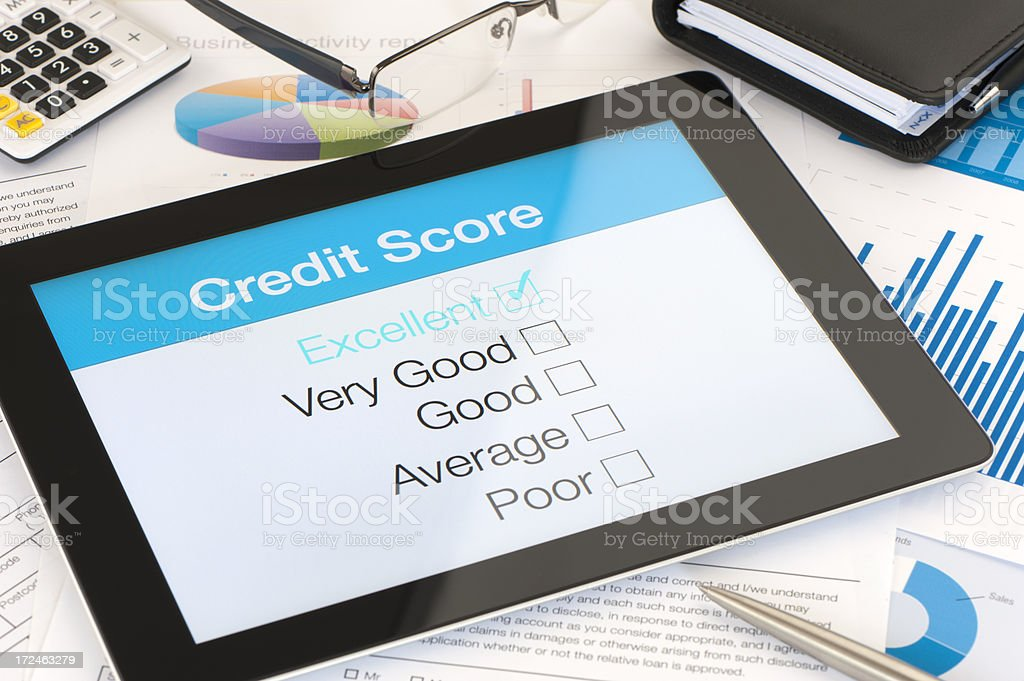 Credit score on a digital tablet stock photo