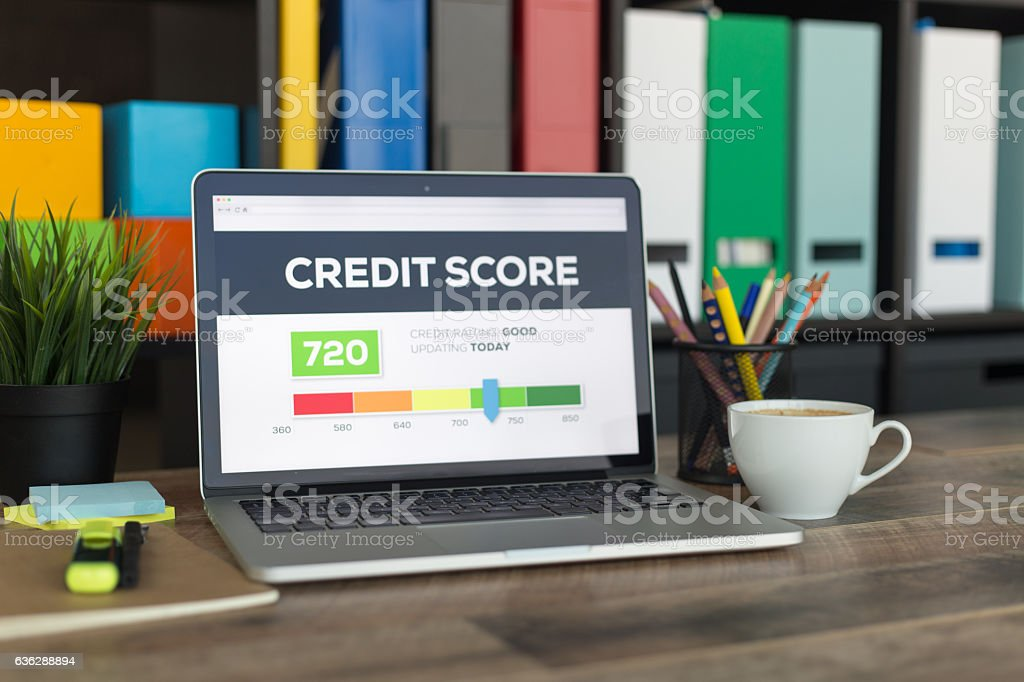 Credit Score on Laptop Screen stock photo