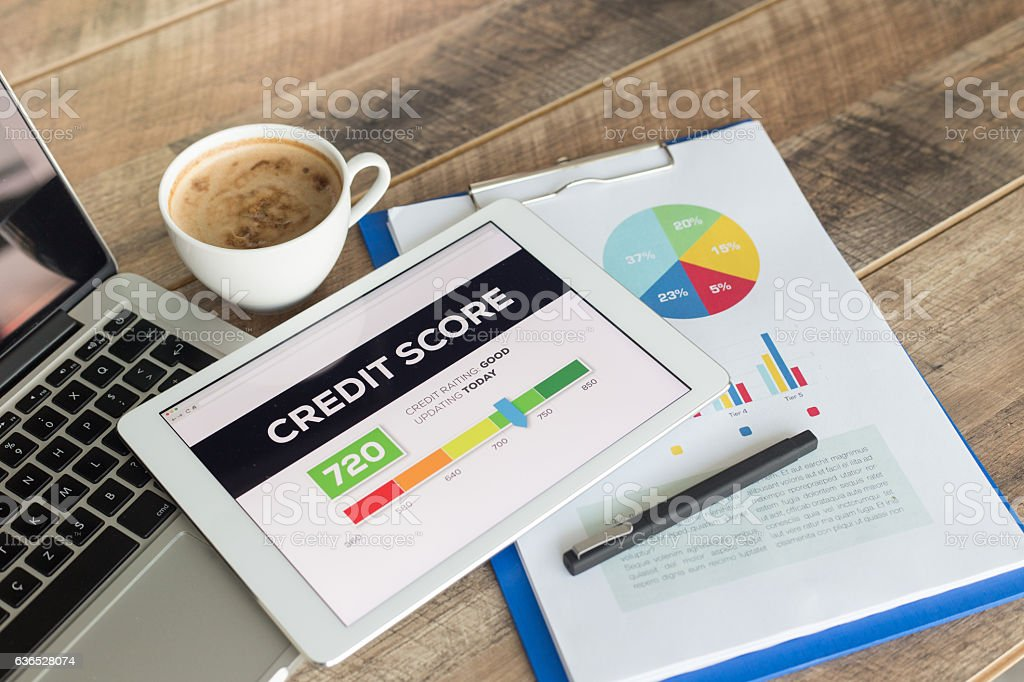 Credit Score on Tablet Screen stock photo