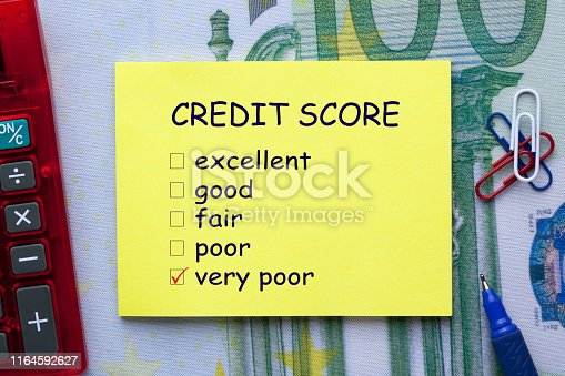 Credit Score checklist on note with pen a side and office supplies. Business concept.