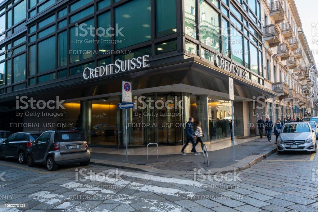 Credit Suisse Headquarter In Milan Stock Photo - Download Image