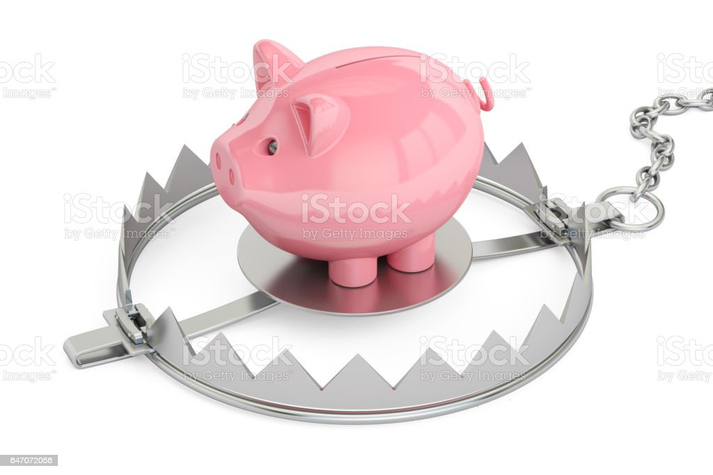 Credit trap with piggy bank, 3D rendering stock photo