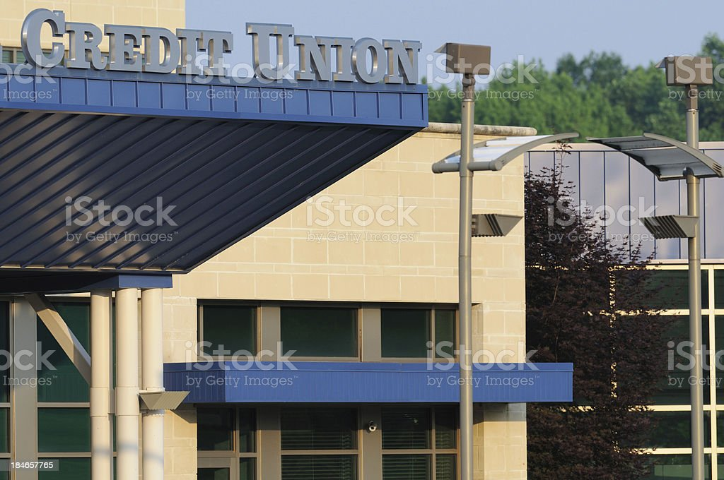 Credit union building with sign royalty-free stock photo