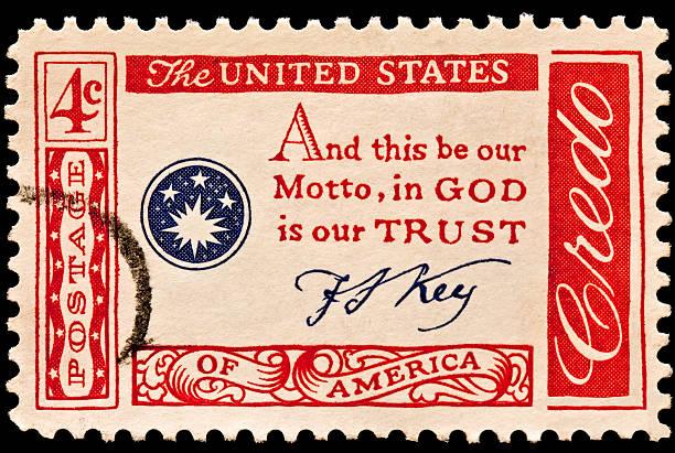 Credo: In God We Trust Postal Stamp stock photo
