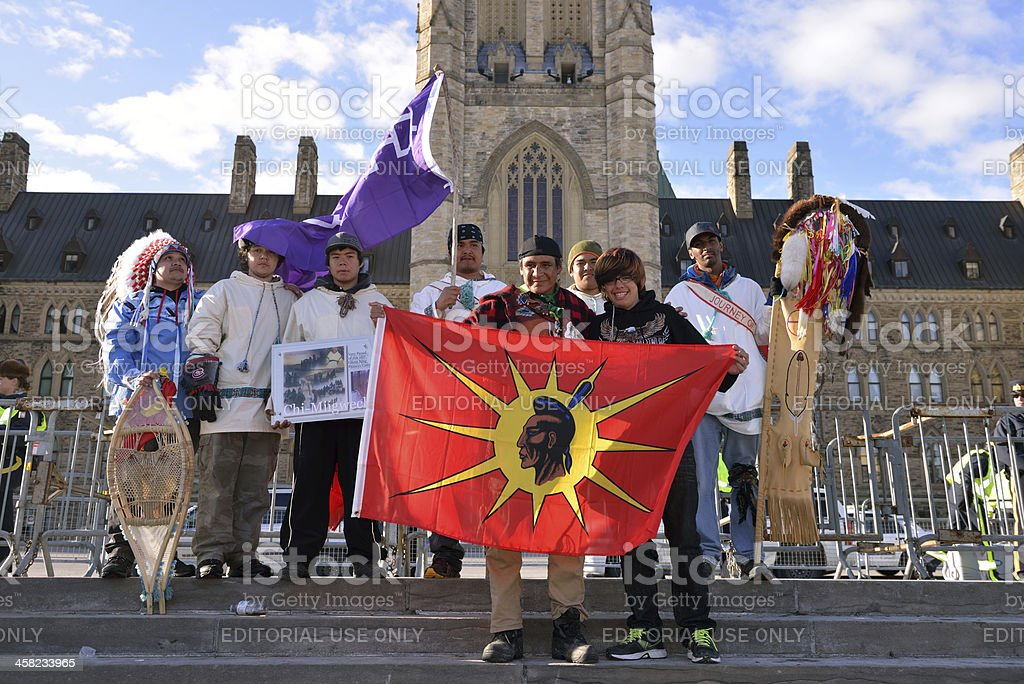 Cree Youth walkers arrive in Ottawa royalty-free stock photo