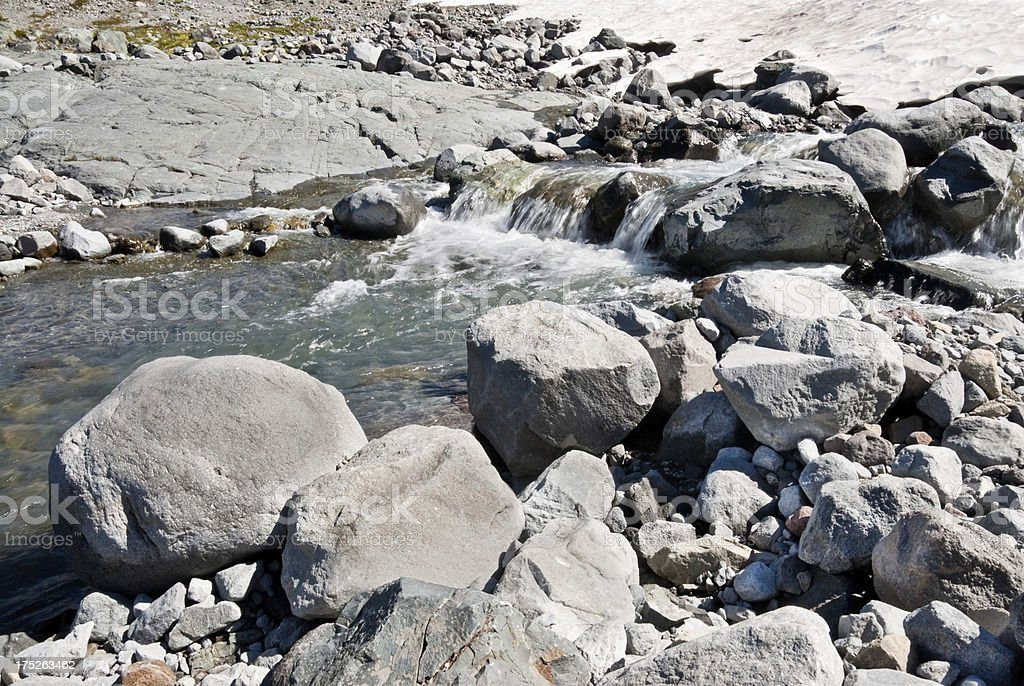 Creek Flowing from a Glacial Remnant stock photo
