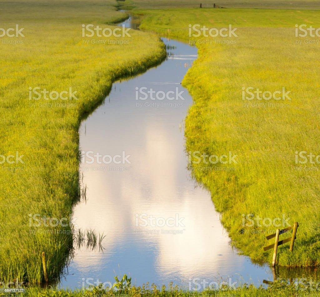 Creek tussen de weilanden tijdens zonsondergang royalty free stockfoto