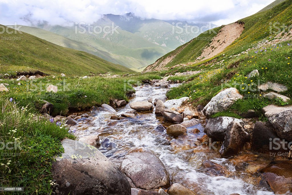 Creek in the mountains. stock photo