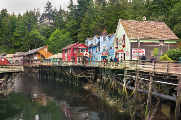 Creek Street and Dolly House. Ketchikan, Alaska: View of Creek Street and Dolly House, Ketchikan. ketchikan stock pictures, royalty-free photos & images