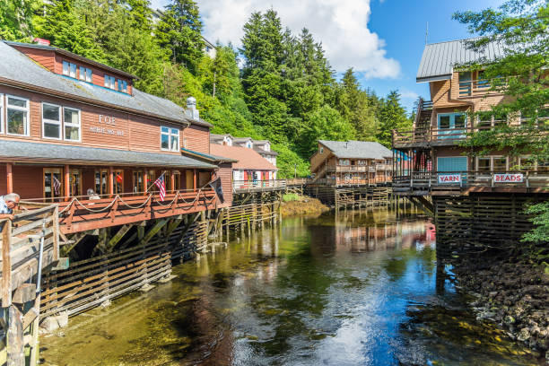 Creek Street historic boardwalk in Ketchikan Ketchikan, Alaska / USA - 06/30/2015 Creek Street historic boardwalk in Ketchikan ketchikan stock pictures, royalty-free photos & images