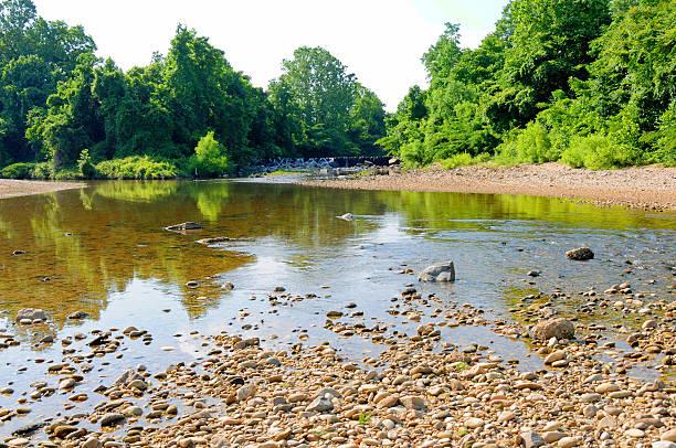 Creek with pebbles, bridge, and trees surrounding water stock photo