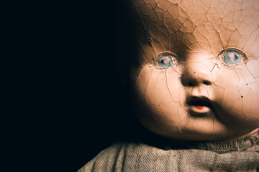 Creepy Antique Baby Doll Close Up