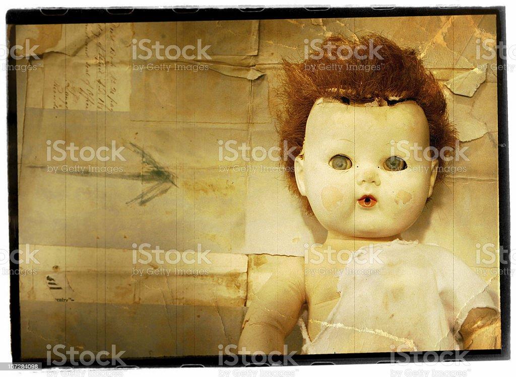Creepy Antique Porcelain  Doll royalty-free stock photo
