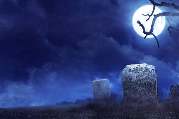 creepy atmosphere in the cemetery in the night - cemetery stock photos and pictures