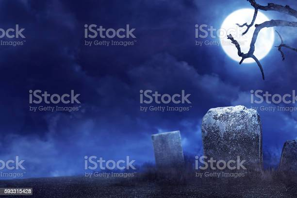 Photo of Creepy atmosphere in the cemetery in the night