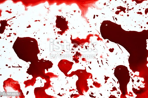 Creepy blood red spatters texture. Different shapes drops and drips