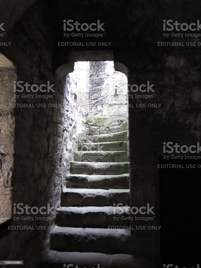 Creepy Castle Stairs stock photo