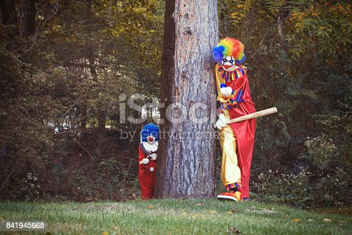 Two Creepy Clowns trying to lure people into the woods.
