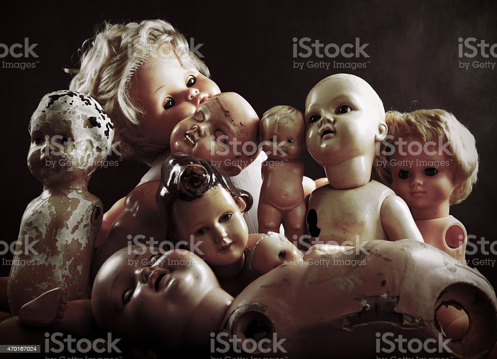 Creepy dolls stock photo