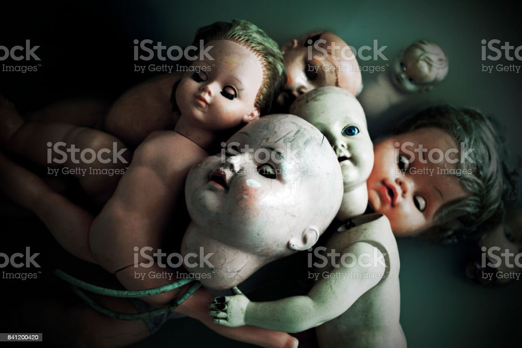 Creepy dolls stock photo
