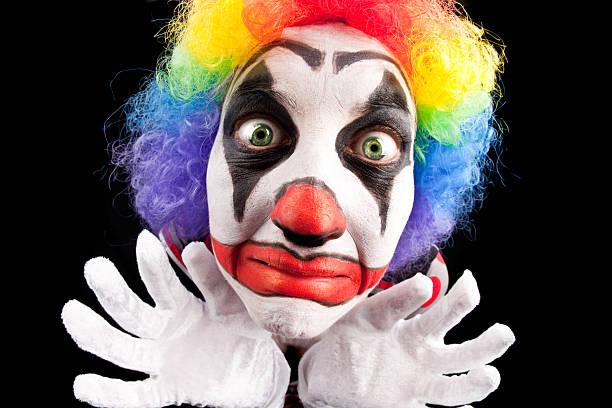 Creepy Fisheye Clown Close Up - foto de stock
