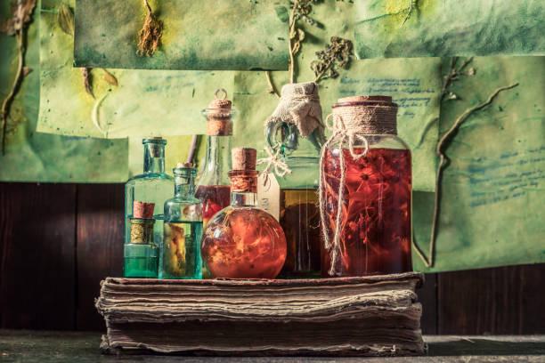 Gruseliges Kräuterlabor mit Pflanzenbeschreibungen und getrockneten Karten – Foto