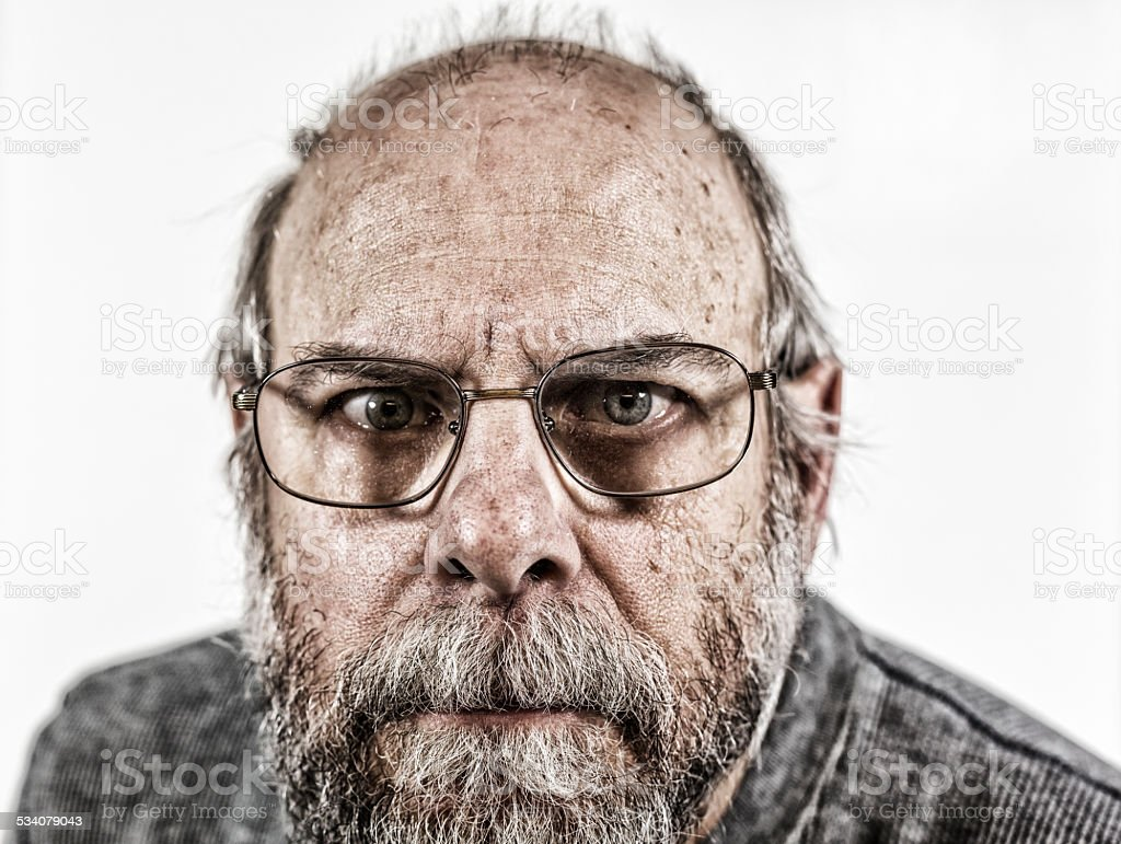 Creepy Man Staring Close-up stock photo