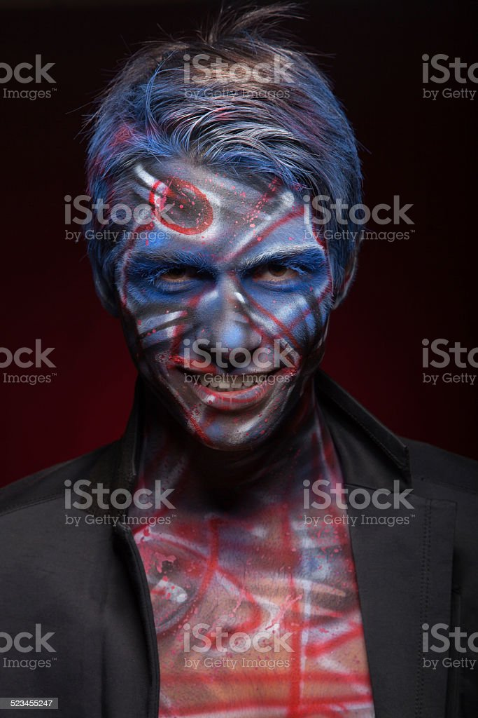 Halloween Maan.Creepy Portrait Of A Halloween Man Stock Photo Download