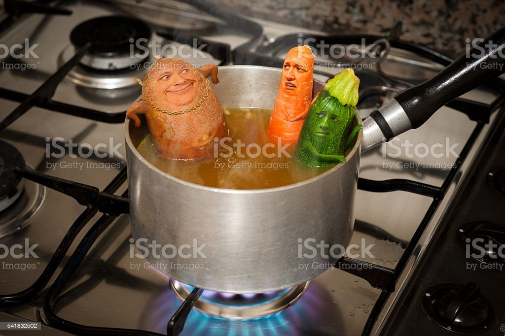 Creepy Potato Guy Farts in Soup Hot Tub stock photo