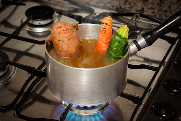 Creepy Potato Guy Farts in Soup Hot Tub stock photo