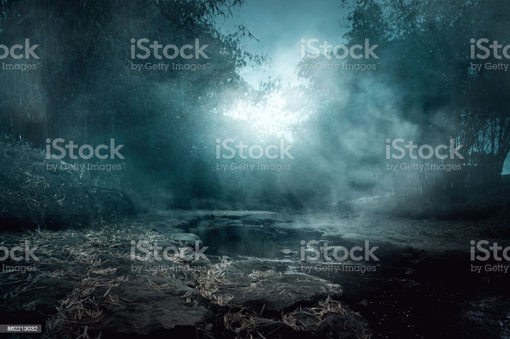 Creepy river stock photo
