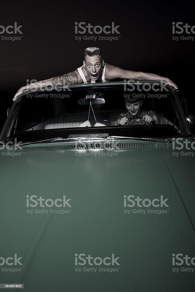 creepy rockabilly couple stock photo