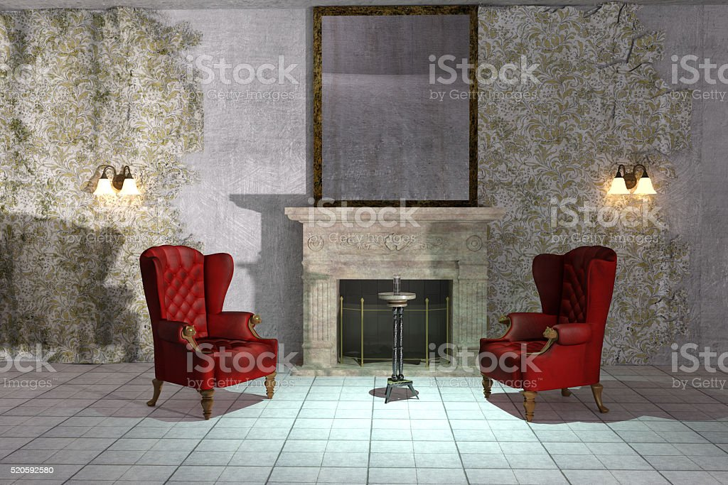 Creepy room stock photo