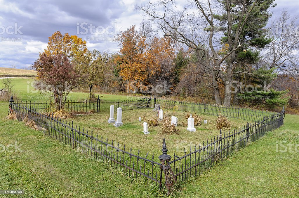 Creepy Rural Cemetery in Fall Country Landscape, Spooky royalty-free stock photo