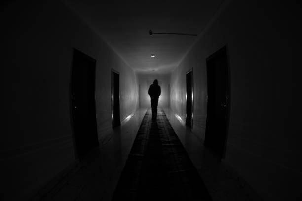 Creepy silhouette in the dark abandoned building. Dark corridor with cabinet doors and lights with silhouette of spooky horror person standing with different poses. – zdjęcie