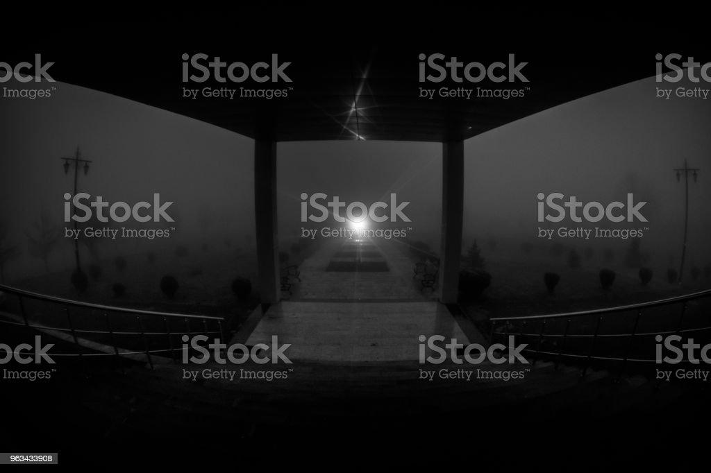 Silhouette effrayant dans le bâtiment abandonné sombre. Couloir sombre avec portes d'armoire et de lumières avec la silhouette de la personne d'horreur effrayant debout avec des poses différentes. - Photo de Adulte libre de droits