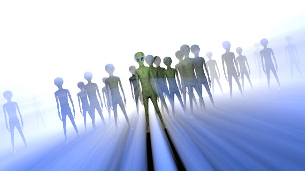 Creepy silhouettes of aliens and bright light in the background. 3D stock photo