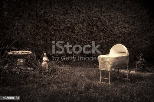 Bizarre, vintage looking photo of a creepy, spooky baby cradle in an overgrown, neglected garden.